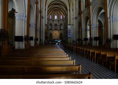 SAIGON - FEB 5, 2015 - Interior with altar of Notre Dame Cathedral in central Saigon (Ho Chi Minh City),  Vietnam