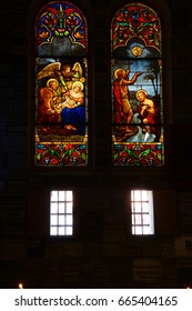 SAIGON - FEB 5, 2015 - Stained glass in Notre Dame Cathedral in central Saigon (Ho Chi Minh City),  Vietnam