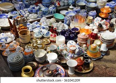SAIGON - FEB 5, 2015 -  Vintage porcelain for sale at the  Antiques market in Saigon (Ho Chi Minh City),  Vietnam