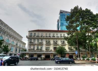 Saigon, Ho Chi Minh city, Vietnam, August 10, 2015 : different view of the hotel Continental in district 1. During the Vietnam War-era the hotel was famous and popular with journalists