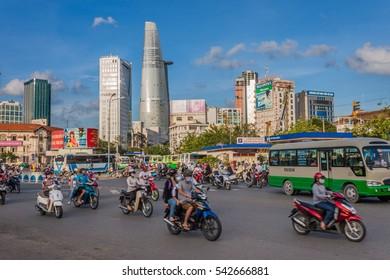SAIGON - JULY 25, 2012: Road Traffic in Saigon (Ho Chi Minh City), Vietnam.