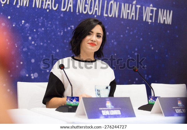 Saigon - May 8th, 2015: Demi Lovato at the press conference for the event YAN Beatfest 2015 in Viet Nam.