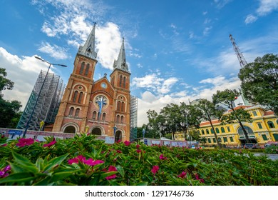 Saigon Notre-Dame Cathedral Basilica in Ho Chi Minh city, Vietnam. Ho Chi Minh is a popular tourist destination of Asia