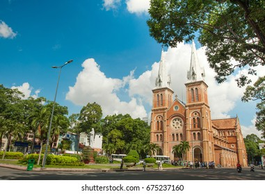 Saigon Notre-Dame Cathedral Basilica (Basilica of Our Lady of The Immaculate Conception) on a sunny day in Ho Chi Minh city, Vietnam. A popular tourist destination of Vietnam.