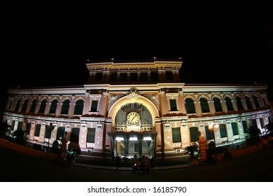 Saigon post office at night in fish-eye view