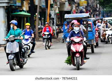 SAIGON September 8 2017: The busy streets of Ho Chi Minh City in Vietnam