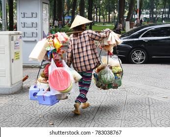 SAIGON September 8 2017: Street vendor in Saigon