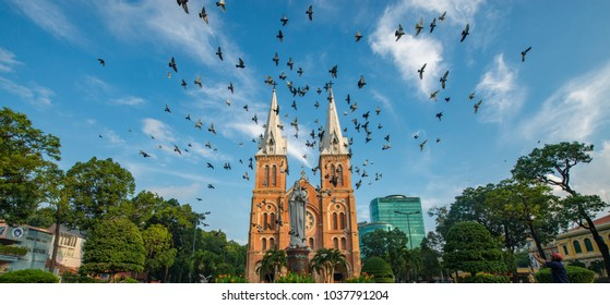 SAIGON, VIET NAM - MAR 29, 2017. Notre Dame Cathedral (Vietnamese: Nha Tho Duc Ba) in sunset, build in 1883 in Ho Chi Minh city, Vietnam. The church is established by French colonists.