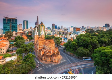 SAIGON, VIET NAM - OCTOBER  01, 2014. Notre Dame Cathedral (Vietnamese: Nha Tho Duc Ba) in sunset, build in 1883 in Ho Chi Minh city, Vietnam. The church is established by French colonists.
