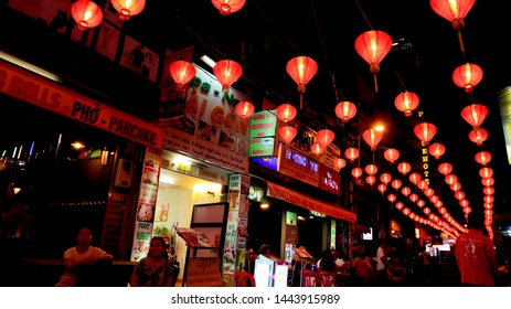 SAIGON, VIETNAM. 2019 Jun 19th. Night Time in Bui Vien Street.