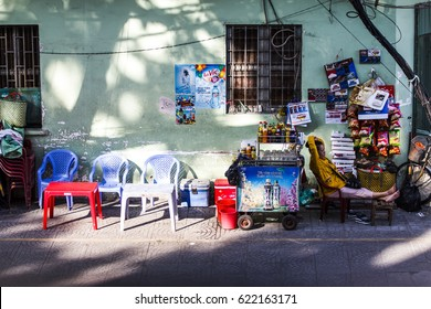 SAIGON, VIETNAM - APR 16, 2017 - A flea-mobile-beverage stall on the sidewalk of a street in Saigon, Vietnam. There are manystreet stalls like this in Saigon