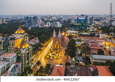 SAIGON, VIETNAM - APRIL 011, 2016 - Saigon Notre Dame Cathedral (Vietnamese: Nha Tho Duc Ba) in a daylife, build in 1883 by French colonists