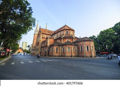 SAIGON, VIETNAM - APRIL 05, 2016 -  Saigon Notre Dame Cathedral (Vietnamese: Nha Tho Duc Ba) in a daylife, build in 1883 by French colonists.