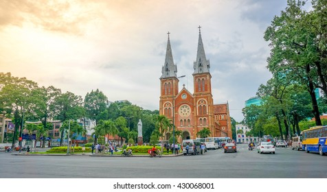 Saigon, Vietnam, August 8, 2015 : Famous central Saigon Notre Dame Cathedral, built between 1863 and 1880 by French colonists, is one of Saigon's architectural marvels
