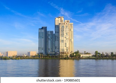 SAIGON, VIETNAM - DEC 16: The apartment building on the diamond island, beside Saigon river, at morning. On Dec 16, 2012.