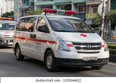 SAIGON, VIETNAM, DEC 18 2017, Ambulance cars are driving at the street. The rescue car in Saigon.