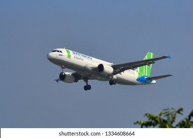 Saigon, Vietnam - Feb 1, 2019. An Airbus A320 airplane of Bamboo Airways landing at Tan Son Nhat Airport (SGN).