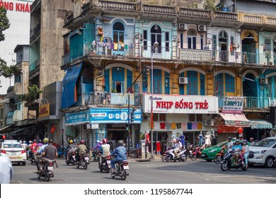 SAIGON, VIETNAM - FEB 12, 2018 - An old apartment - 440 Tran Hung Dao in district 5, Sai Gon, Viet Nam located at China Town.