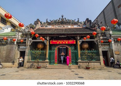 SAIGON, VIETNAM - FEB 13, 2018 - Thien Hau Temple, officially the Ba Thien Hau Pagoda, is a Chinese-style temple of the Chinese sea goddess Mazu