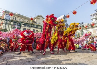 SAIGON, VIETNAM - February 18, 2015 : Dragon and lion dance show in chinese new year festival.