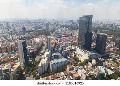 SAIGON, VIETNAM - FEBRUARY 23, 2018: Cityscape of Saigon photographed from high altitude in Vietnam