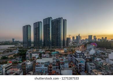 SAIGON, VIETNAM - JAN 05, 2019 - A corner of Vinhome Golden River Aparment, new building project of Vingroup which along the bank of Saigon river
