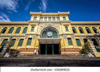 SAIGON, VIETNAM - JANUARY 16, 2019 : Saigon Central Post Office on blue sky background in Ho Chi Minh, Vietnam.  Chi Minh is a popular tourist destination of Asia.