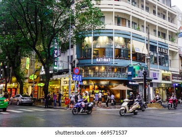Saigon, Vietnam - Jun 30, 2017. Traffic on street at twilight in Saigon, Vietnam. Saigon (Ho Chi Minh City) has exotic food, colonial architecture, and memories of war.