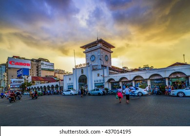 SAIGON, VIETNAM - JUNE 05, 2016 - Sunset on Ben Thanh market, the market is one of the earliest surviving structures in Saigon and an important symbol of H? Chí Minh City