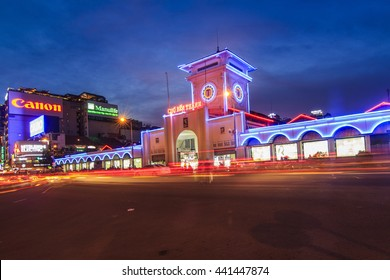 SAIGON, VIETNAM - JUNE 05, 2016 - Ben Thanh market by night, the market is one of the earliest surviving structures in Saigon and an important symbol of Ho Chi Minh City