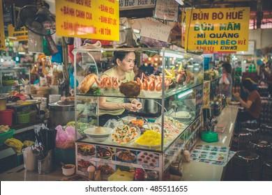 SAIGON, VIETNAM, JUNE 26, 2016: inside the Ben Thanh Market in Saigon.
