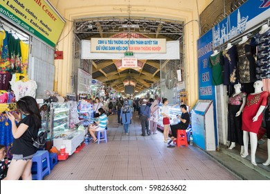 SAIGON, VIETNAM - Mac 2, 2017:  Ben Thanh Market is biggest market and attraction in Ho Chi Minh City. It is one of the most famous and popular landmarks of Vietnam.