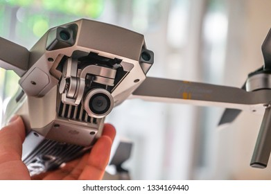 SAIGON / VIETNAM, MAR 2019 - DJI Mavic Pro Platinum features a sleek design and compact body that is both powerful and alluring. A new and improved 30-minute flight time coupled