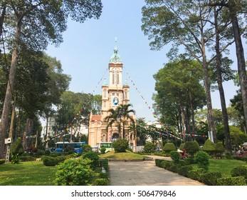 Saigon, Vietnam - Mar 28, 2016. View of Saint Xavier Church at District 5 in Saigon, Vietnam.