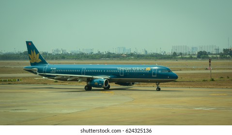 Saigon, Vietnam - Mar 9, 2016. Vietnam Airlines aircraft at Tan Son Nhat Airport in Saigon, Vietnam. Tan Son Nhat is the busiest airport in Vietnam with 32.5 million passengers in 2016.