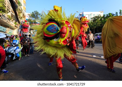 Saigon, Vietnam - March 2nd, 2018: Lunar New Year celebration in Cho Lon