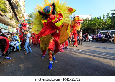 Saigon, Vietnam - March 2nd, 2018: Lunar New Year celebration in Cho Lon