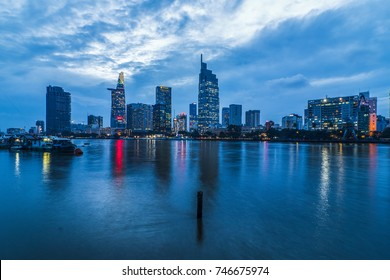 SAIGON, VIETNAM - NOV 02, 2017 - Impression landscape of Ho Chi Minh city at night , Saigon river flows through the city, this photo was taken at Sai Gon pearl building.