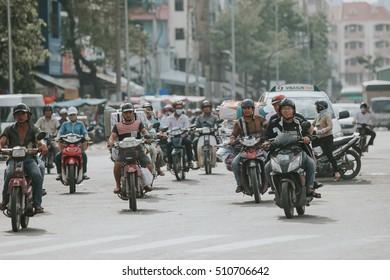 SAIGON, VIETNAM - NOVEMBER 1, 2016: Rush hour on November 1, 2016 in Saigon, Vietnam.