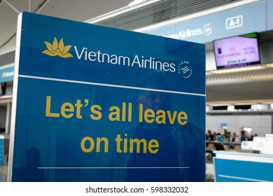 Saigon, Vietnam - Oct 2, 2016. An information board at Tan Son Nhat Intl Airport in Saigon, Vietnam. The airport is the largest airport in Vietnam, located 6 km north of the center of Saigon.
