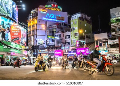 SAIGON, VIETNAM - OCTOBER 31, 2016: Rush hour on October 31, 2016 in Saigon, Vietnam.