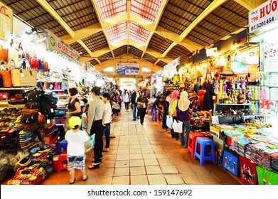 SAIGON, VIETNAM - OCTOBER 4 : people who are shopping at Ben Thanh Market on October 4, 2013 in Ho Chi Minh, Vietnam. Ben Thanh Market is biggest market and attraction in Ho Chi Minh City.