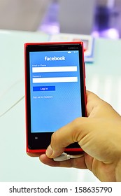 SAIGON, VIETNAM - OCTOBER 8 : Facebook application on the new Nokia Lumia 920 is a smartphone developed by Nokia that runs the Windows Phone 8 operating system, Saigon October 8, 2013