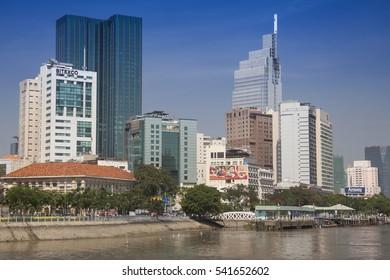SAIGON,HO-CHI-MINH-CITY,VIETNAM -AUGUST 19, 2016:City Center with Empire Tower, on the Saigon River, Ho Chi Minh City, Saigon, Vietnam