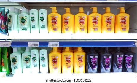 Saigon/Vietnam: 1 May 2019: Sunsilk shampoo conditioner on supermarket shelf cosmetic beauty product of Unilever hair care