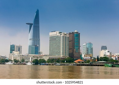 SAIGON,VIETNAM - APRIL 20, 2018:Downtown Saigon with Bitexco Financial Tower, Saigon, Ho Chi Minh City, Vietnam, Asia