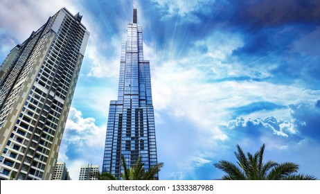 Saigon/Vietnam: March 1 2019: Landmark 81 super-tall skyscraper tallest building in Ho Chi Minh British Design Vinhomes investor real-estate 81 storey Saigon River in Vinhomes Central Park Binh Thanh