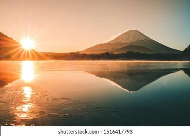 Saiko lake near Mt.fuji in winter scence