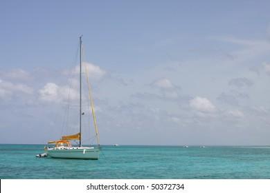 sail boat in caribbean sea