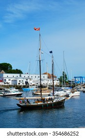 Sail boat in an harbor in Maine in the United States of America